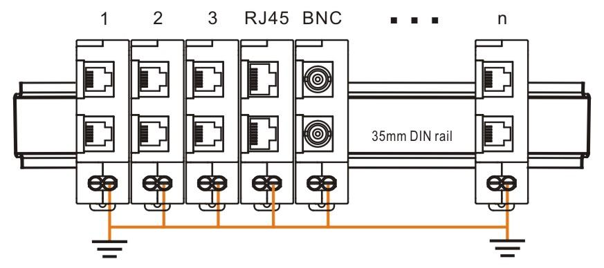 WTH-SG/BNC导轨式视频监控浪涌保护器串联在同轴线和BNC接头之间,保护视频监控设备(摄像头、视频分配器、视频录像机、闭路电视等设备)免遭过电压浪涌的袭击。 (符合标准: GB18802.21、IEC61643-21、CE)